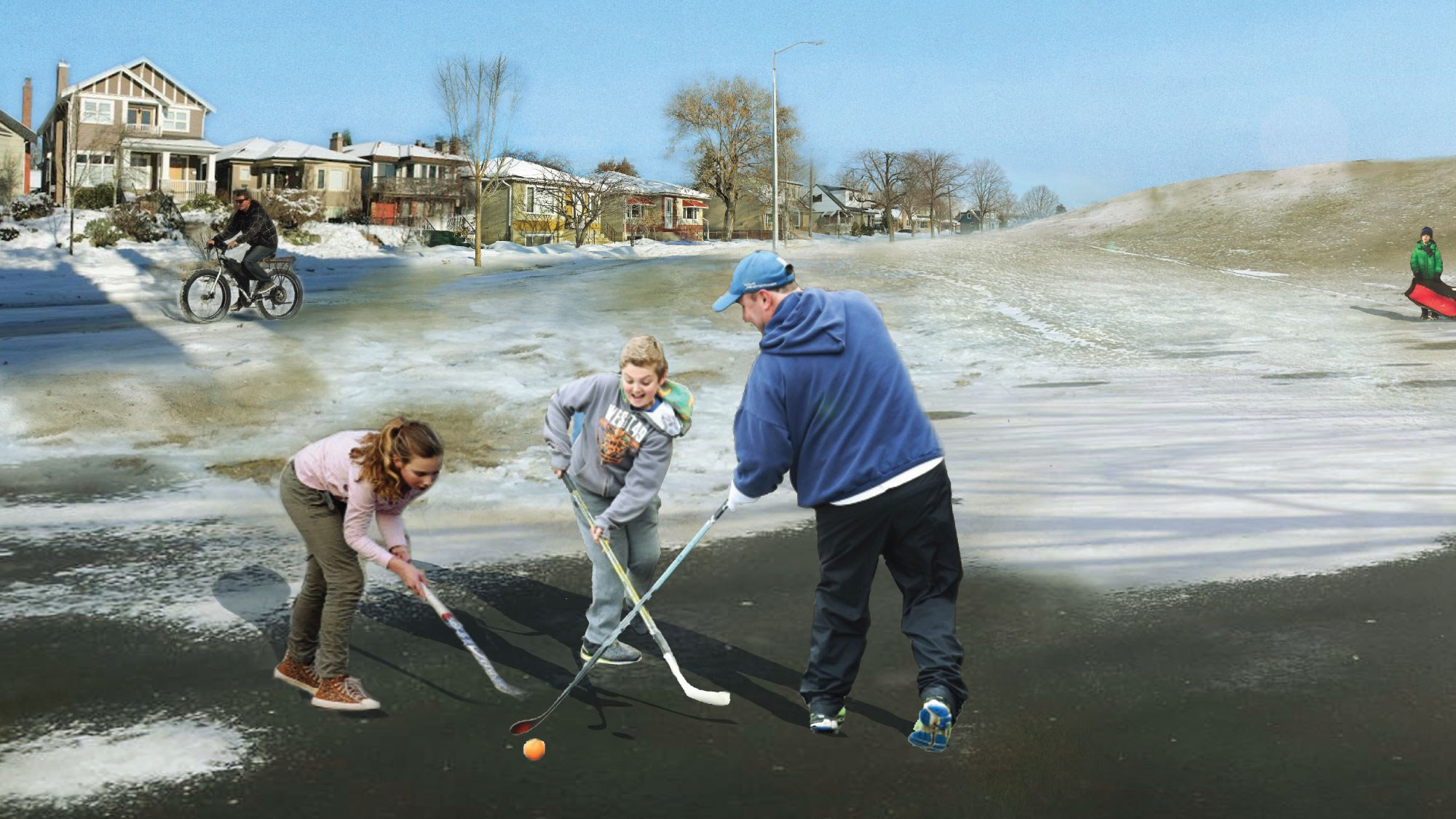 people playing hockey in slushy field and boy standing with toboggan