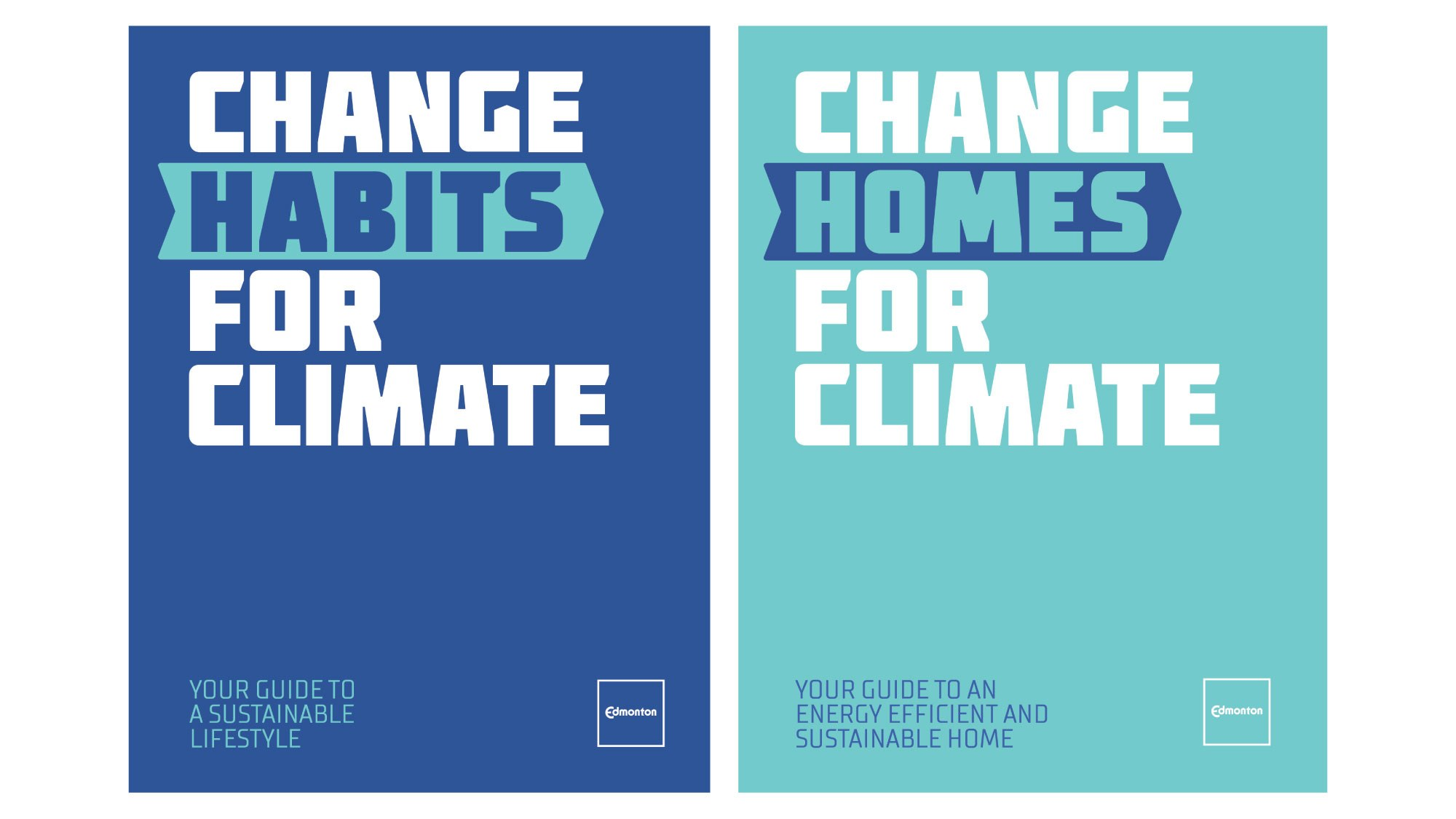 cover page of the Change Habits for Climate guide and the Change Homes for Climate guide