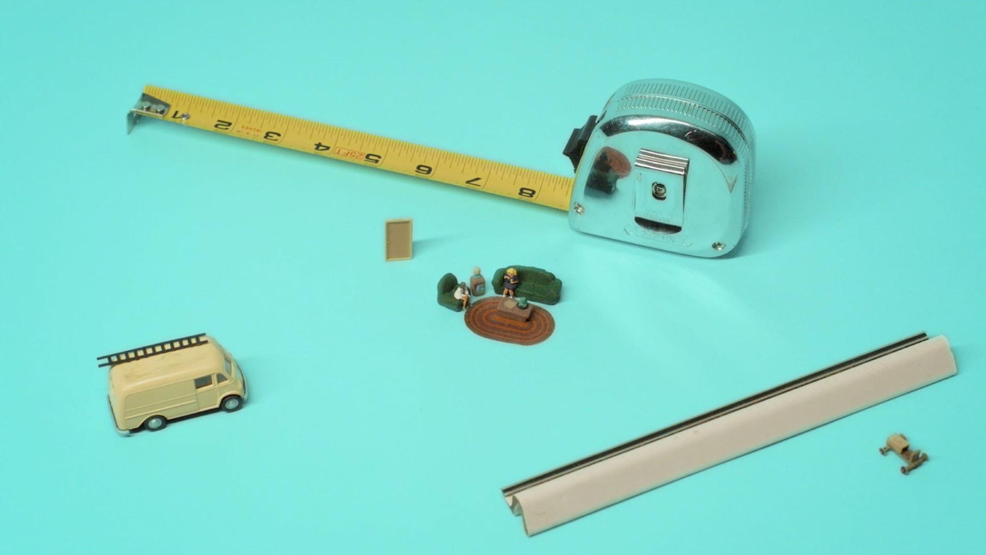 tools and miniature figurines