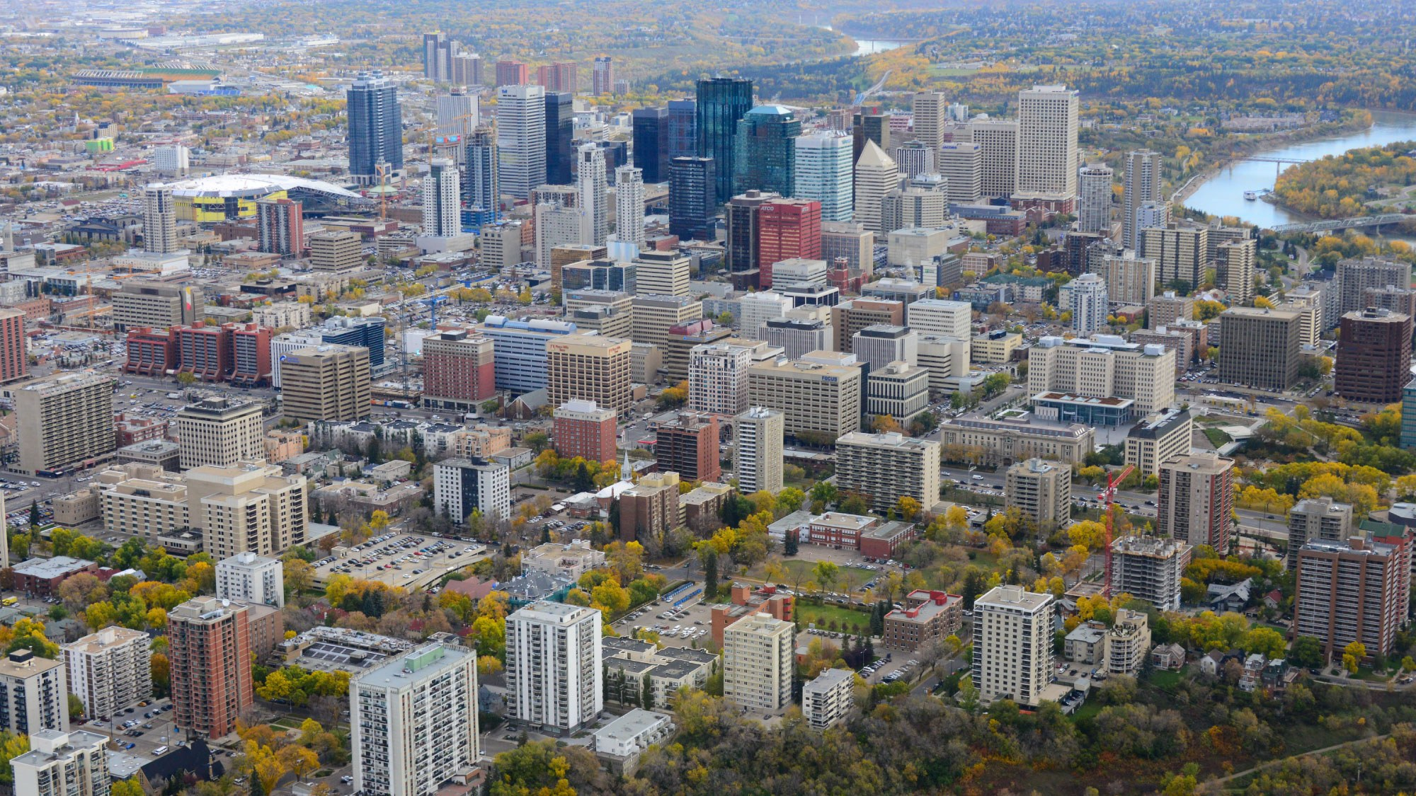 aerial of downtown Edmonton buildings